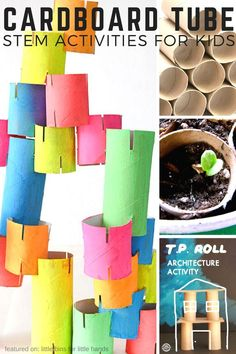 Cardboard tube STEM activities for kids to try using cardboard rolls or tubes or even toilet paper rolls. Recycled STEM projects for Earth Day activities too! Cardboard STEM is cheap and easy to set up  for home STEM activities or even classroom STEM activities.