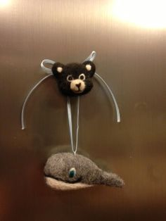 Handmade Needle-felted bear magnet and whale ornament - both sculpted from 100% alpaca fiber