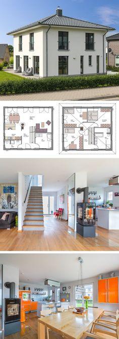 Stadtvilla modern mit Bauhaus-Elementen, Kamin & Zeltdach Architektur - Einfamilienhaus bauen Grundriss offen ECO Haus Flensburg Massivhaus Ideen - HausbauDirekt.de