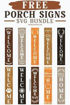 Cricut Svg Files Free, Cricut Fonts, Cricut Vinyl, Sticker Vinyl, Free Svg Cut Files, Welcome Design, Sign Design, Front Porch Signs, Welcome Porch Signs