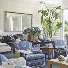 Impressive French Country Living Room Design To This Fall Ideas 34 French Country Living Room, French Country Decorating, Blue Rooms, White Rooms, Living Room Furniture, Living Room Decor, Blue And White Living Room, Inspiration Design, Coastal Living Rooms