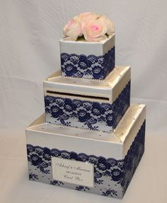 Ivory Wedding Card Box with Navy Blue Lace /Pale Pink Roses-crystal accents