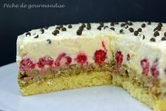Gâteau framboises pistache au chocolat blanc