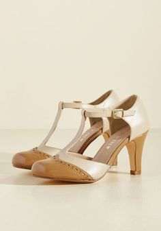 Chelsea Crew Vivacious Vibes T-Strap Heel in Tan - Combine your stylish know-how with the 40s-inspired panache of these two-toned heels by Chelsea Crew, and you're guaranteed an outstanding look! Characterized by patent, chamoisee-hued wingtips and taupe T-strap uppers, these leather-lined, mid-heels bestow extraordinary versatility upon your wardrobe.