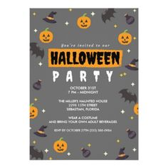 Pumpkins Witches and Bats Halloween Party Card - invitations custom unique diy personalize occasions