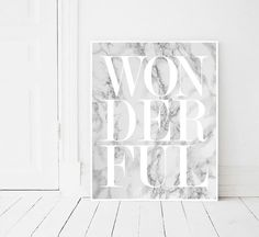Wonderful print, Fashion, Modern print, Fashion art, White, Marble print, Digital art, Printable art, Digital Instant Download 11x14, 8x10 INSTANT