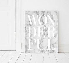 Wonderful print, Fashion, Modern print, Fashion art, White, Marble print, Digital art, Printable art, Digital Instant Download 11x14, 8x10 INSTANT