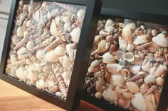 small shells in shadow boxes - how about putting fabric - or even paper towel - at the back before closing up the frame, to reduce number of shells required and to keep them in place