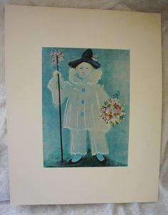 Vintage, Pablo Picasso,  Pierrot, Original PENN Prints,  Lithograph,   Housewarming Gift,  Home Decor Art by FunFloridaVintage on Etsy
