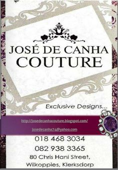Jose de Canha Couture - designer of choice for Miss Klerkdsorp, Mrs South Africa and Miss Mamelodi Sundowns South Africa, Couture, Wedding Dresses, Cards, Design, Bride Dresses, Bridal Gowns, Weeding Dresses