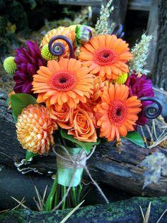 Fall Wedding Flowers- I love that deep purple!