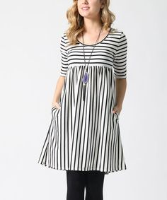 4780f7440 Ivory   Black Stripe Empire-Waist Pocket Tunic