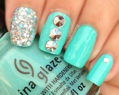 Elegant and simple mint nail art idea 2014 with silver glitter and rhinestone accents