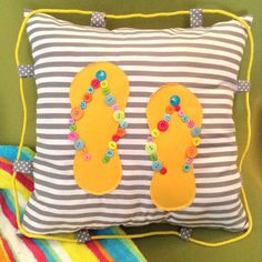 Pillow / Decorative Pillow Flip-Flop / Flip - Flop Pillow / Handmade and Design Yellow Fabric with  assorted beautiful and colorful button