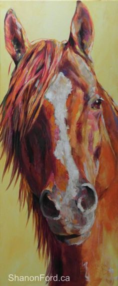"""The Nicker""... a portrait of ""Chevy"", a gorgeous paint who inspired this painting when he turned his head and gave a soft nicker to his owner when we were walking up to meet him ... 48 X 20 Acrylic on Canvas ... Bred by Saddlerock Meadows Quarter Horse Ranch, in Summerland BC http://www.saddlerockmeadows.com/ Love this find more here"