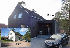Med et tilbygg kan du få mer plass å boltre deg på – her familien Mørkveds hus før og etter bygging. Building Design, Building A House, Norway House, Roof Architecture, House Extensions, Modern Exterior, Black House, Future House, New Homes