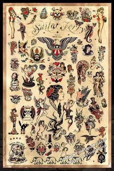 "Sailor Jerry Tattoo Flash #3 -  Poster Print 24""x36"" - Free Shipping in U.S."