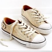 Shoes - Ash 'Virgo' Metallic Leather Trainers - havin them!