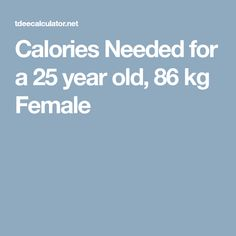 Calories Needed for a 25 year old, 86 kg Female