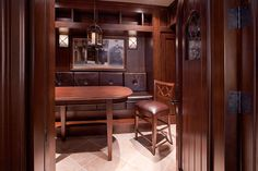 Custom Wine Cellar - Wine cellar entry system showcasing 2-1/4 inch thick wood doors Linneman St. Glenview, Glenview Haus Photo Gallery, Chicago
