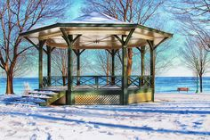 A winter look at the Oakville gazebo by the  lake.