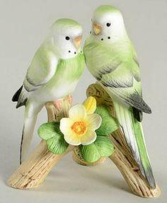 Sadek Parakeets Porcelain Figurine /// Aren't they just the most precious little birds?