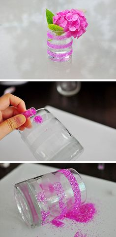 Easy Striped Glitter Vase | Click Pic for 26 DIY Wedding Centerpieces on a Budget | DIY Wedding Decorations for Outside: