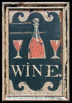 antique inspired wine sign