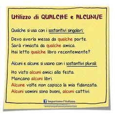 Qualche, alcuni, alcune. Seguite @ilearnitalian . #learningitalian #learnitalian…