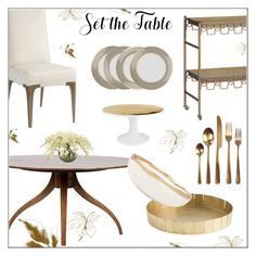 """""""Set The Table"""" by kathykuohome ❤ liked on Polyvore featuring interior, interiors, interior design, home, home decor, interior decorating, Áeron, Home, dining and diningdecor"""