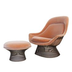 Bronze Lounge Chair and Ottoman by Warren Platner for Knoll | 1stdibs.com