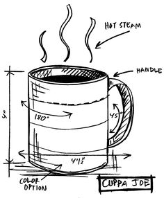 Tim Holtz Rubber Stamp 2015 CUPPA JOE SKETCH Stampers Anonymous P12628