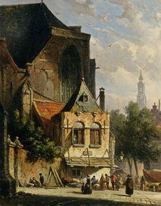 Adrianus Eversen, A Busy Market in a Dutch Town