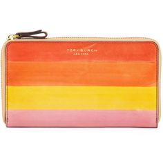 Tory Burch Block-T Dégradé Striped Leather Zip Wallet (€220) ❤ liked on Polyvore featuring bags, wallets, light pink, leather zip around wallet, leather zipper wallet, tory burch wallet, 100 leather wallet and zip-around wallet