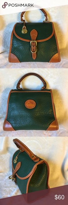 Vintage Dooney & Bourke small green/tan satchel Vintage Dooney & Bourke Leather satchel with handle on top, clean inside and outside, solid brass hardware and charm, excellent condition, measurements 9x8x4.5 Dooney & Bourke Bags Satchels