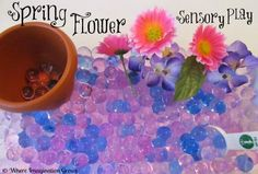Spring Sensory Bin; Water Beads & Flowers! - Where Imagination Grows