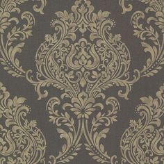 This damask wallpaper features a linen texture background that is topped with a lush gold metallic print. This glamorous design is done in a large scale, making it perfect for a feature wall. Today's damask wallpaper draws on regal Victorian fabric a Paisley Wallpaper, Metallic Wallpaper, Metallic Prints, Textured Wallpaper, Room Wallpaper, Wallpaper Roll, Textured Background, Cheap Wallpaper, Charcoal Wallpaper