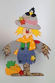 Fensterbild-  kleine Vogelscheuche -Herbst  -Dekoration - Tonkarton!