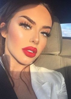 makeup. MAC Ruby Woo lipstick. lashes.