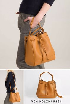 von Holzhausen Mini Bucket Bag (removable & adjustable straps, lightweight construction, comes with removable wallet) Bucket Handbags, Purses And Handbags, Leather Handbags, Leather Bag, Fashion Bags, Fashion Accessories, Cute Bags, Beautiful Bags, My Bags