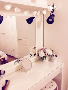 Ikea malm dressing table with stave mirror and hektar lamps.