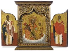 A PRIVATE TRIPTYCH WITH THE MOTHER OF GOD 'THE UNFADING ROSE' FLANKED BY STS. NICHOLAS AND HARALAMBIS, IN A CARVED AND GILDED WOODEN FRAME - GREEK, 17TH CENTURY - Rendered traditionally, the features with dark colours, the bright garments with gilded details, the central panel in the form of an ogee arch supported by columns with corinthian capitals, the spandrels carved with flower-buds and leaves Extended: 13¾ x 18¼ in. (34.9 x 46.4 cm)