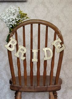 Bride Chair Sign, Wedding Garland - Kraft Paperboard & Glittery Cardstock - Gold/Silver Available - Rustic Chic, Vintage-Inspired, Boho on Etsy, $16.00