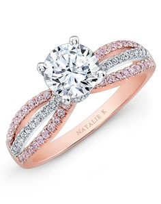 Rose gold engagement ring with alternate rows of white and pink diamonds   Natalie K   http://trib.al/Nke99gi