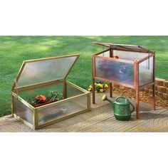 Castlecreek Raised Wooden Cold Frame Greenhouse - Greenhouses at Sportsman's Guide Greenhouse Cover, Simple Greenhouse, Dome Greenhouse, Build A Greenhouse, Homemade Greenhouse, Outdoor Greenhouse, Greenhouse Ideas, Greenhouse Interiors, Pallets Garden