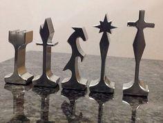 MCM aluminum chess pieces