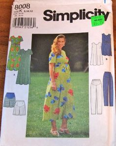Simplicity Sewing Pattern 8008, Womens Misses Maternity Separates, Dress, Tunic Top, Pants, Shorts, Size 8 10 12, Bust 31 32 34, Uncut Factory Folds, by RosesPatternsEtc on Etsy