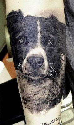 Amazing dog portrait #tattoo by Matteo Pasqualin.