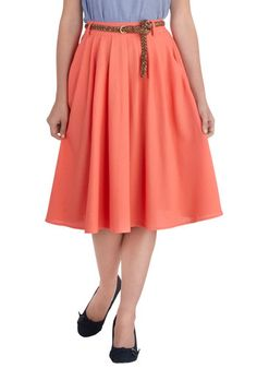 What Florida girl doesn't love a skirt in a color called flamingo? Breathtaking Tiger Lilies Skirt in Flamingo, #ModCloth