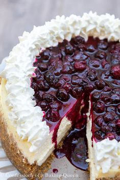 Blueberry Cheesecake is Vanilla & Lemon Infused and topped with Fresh Whipped Cream and a gorgeous Homemade Blueberry Topping #cheesecake #recipe #blueberrytopping #freshwhippedcream #cheesecakerecipe #birthdaydessert
